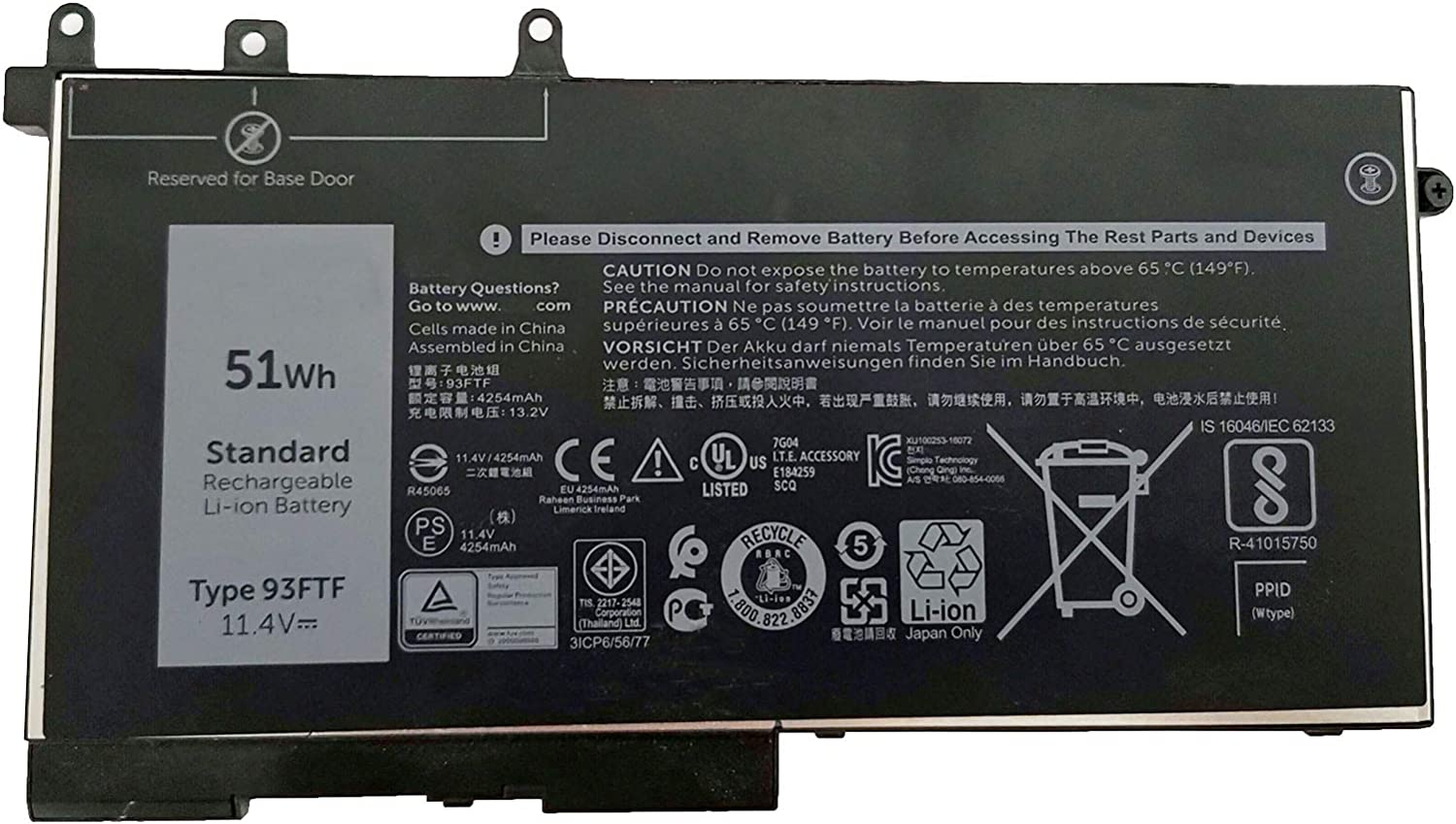 Dentsing 11.4V 51Wh 93FTF Laptop Battery Replacement For Dell Precision 15 3520 LatitudeE5480 E5580 E5590 5280 Series Notebook D4CMT