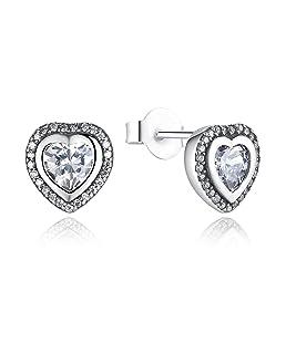 925 Sterling Silver Love Heart Shape Stud Earrings for Women Clear Cubic Zirconia Fashion Anniversary Jewelry