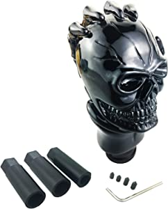 Arenbel Gear Stick Shifter Skull Shift Lever Knob fit Universal Manual Atomatic Transmission, Black
