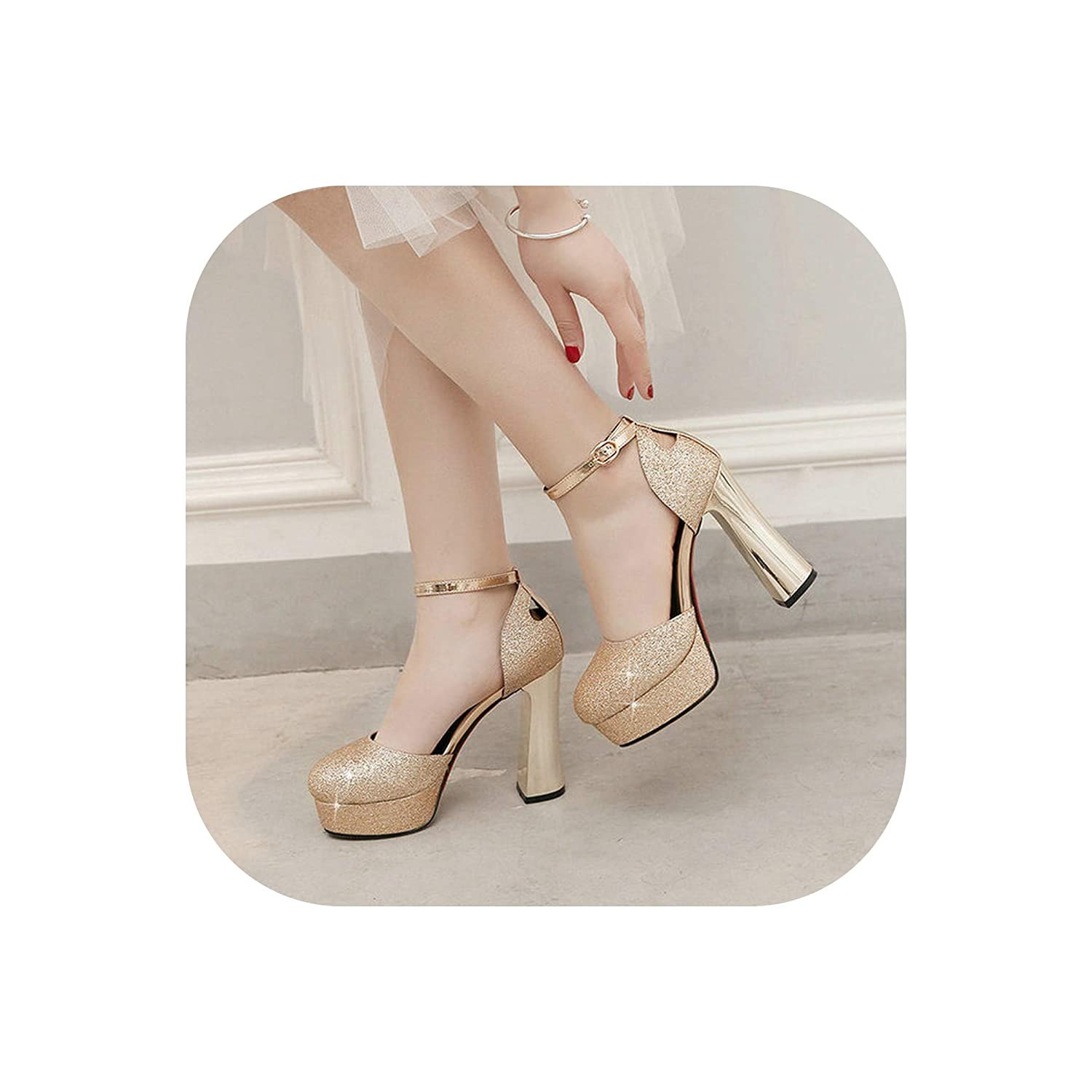 8b59289fd Amazon.com | Summer Sandals High Heels Women Platform Shoes Fashion  Sequined Super High Heels Pumps Gold Silver Red Sole Party Shoes, Gold, 10  | Shoes