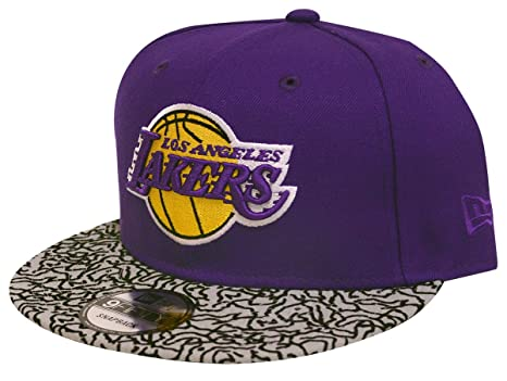 841aac94572 New Era Los Angeles Lakers Custom Collection 9Fifty Snapback Hat (Purple  Eleprint)