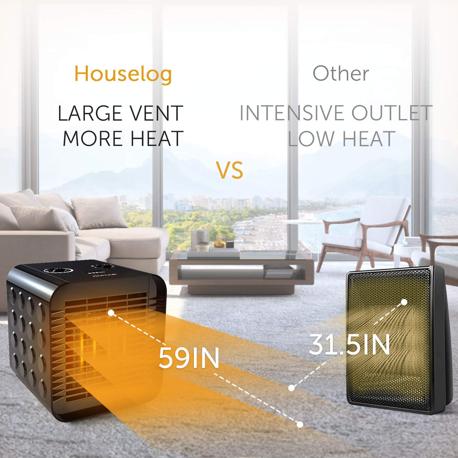 Houselog Desk Space Heater for Office and Home,Tip-Over & Overheat Protection,Hot & Natural Fan Adjustable,PTC Ceramic Personal Heaters Indoor Portable Tabletop or Under-Desk 750W/1500W,Black