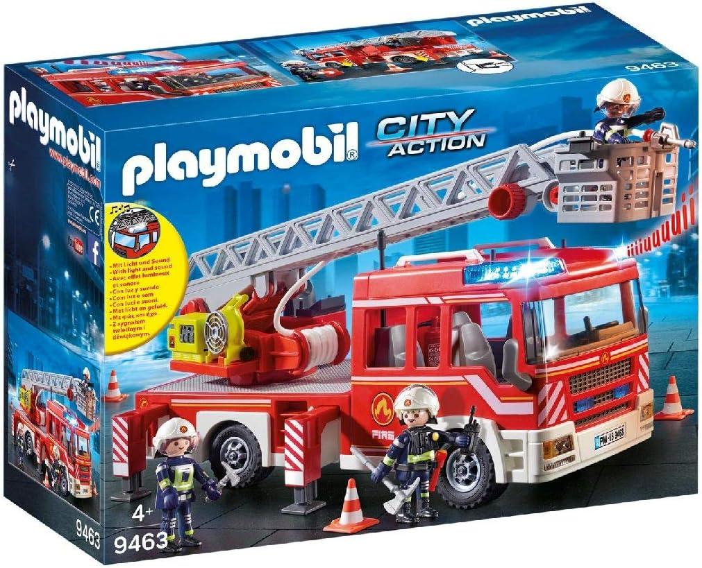 PLAYMOBIL City Action Camión de Bomberos con Escalera, Luces y Sonido, a Partir de 5 Años (9463)