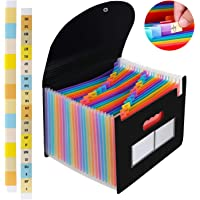 24 Pockets Expanding File Folder/Accordian File Organizer, Portable Filing Box A4 Letter Size Expandable Folders/Plastic Accordion Document Paper Coupon Bill Receipt Organizer with 2 Colored Labels