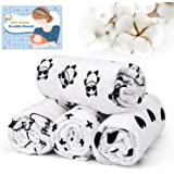 Swaddle Blanket, Baby Blanket Swaddle Wrap (0-6 Months) 100% Soft Cotton Baby Muslin Swaddle Blankets for newborn-120cm x 120cm (47 Inch x 47 Inch)-White&Black