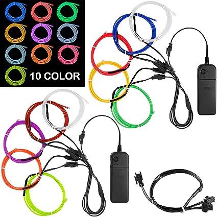 DanziX 10 Pack 3ft Portable EL Wire, Neon Light for Halloween Christmas on neon walls, neon pumps, neon kitchen, neon glass, neon transformers,