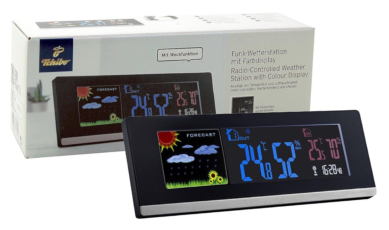 TCM Tchibo - Estación meteorológica por radio con pantalla a color, temperatura interior y exterior: Amazon.es: Jardín