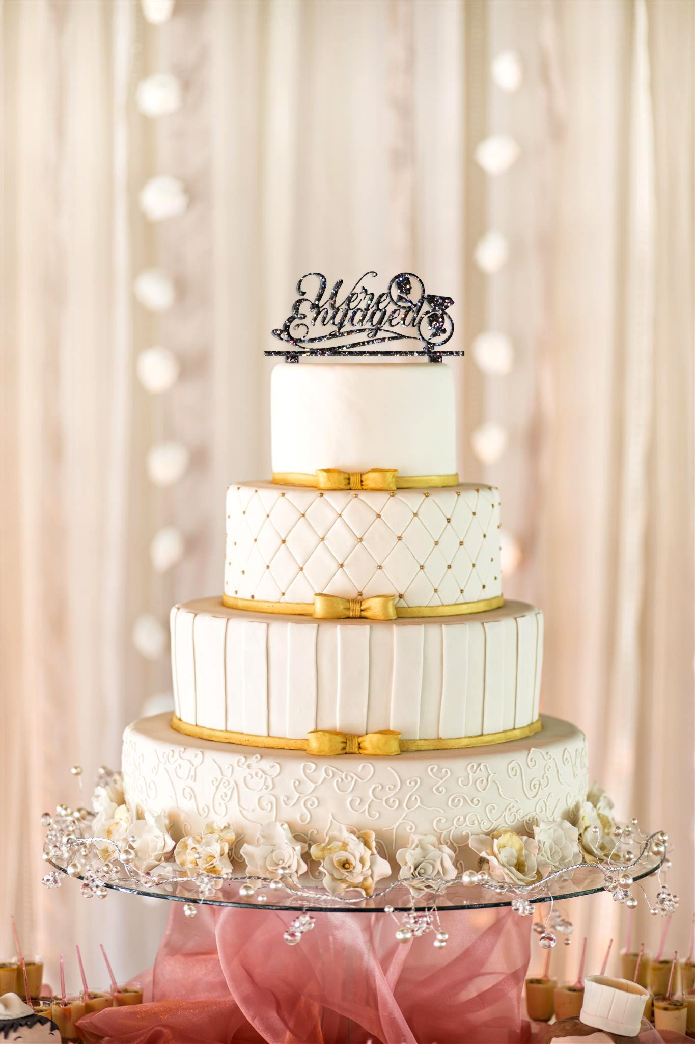 We're Engaged Cake Topper, Engagement Cake Topper, Engagement Party Cake Topper, Gold Glitter Cake Topper, Engagement Decor (15'', Glitter Midnight) by American Sign Letters