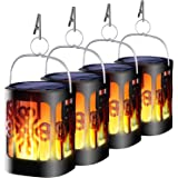 Ollivage Solar Lantern Lights Dancing Flame Waterproof Outdoor Hanging Lantern Solar Powered Flame Landscape Lights for Garde