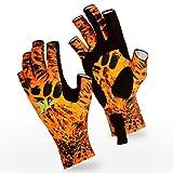 KastKing Sol Armis Sun Gloves UPF50+ Fishing Gloves UV Protection Gloves Sun Protection Gloves Men Women for Outdoor, Kayaking, Rowing, Firestorm Prym1,Small - Medium