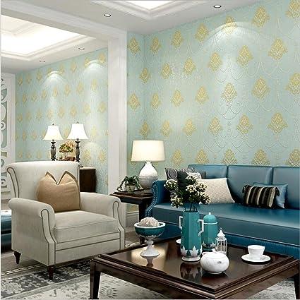 HM Papel pintado moderno minimalista estilo Damasco no tejido 3D rollo de papel tapiz en relieve