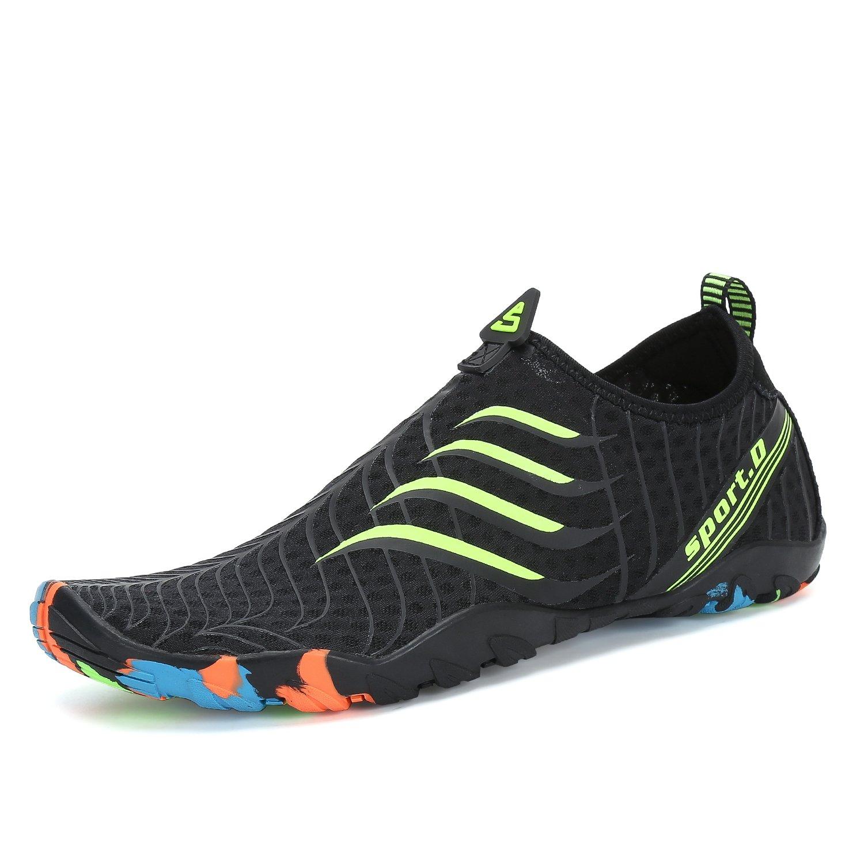 Men Women Water Shoes Quick Dry Barefoot for Swim Diving Surf Aqua Sports Pool Beach Walking Yoga Black Green 10.5