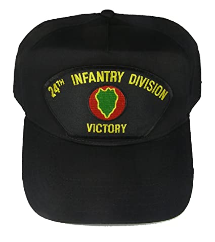 3feb7713d3c Amazon.com  24th INFANTRY DIVISION VETERAN HAT with VICTORY and 24TH ID  crest cap - BLACK - Veteran Owned Business  Clothing