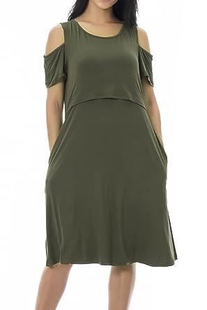 518db6fc0cfec Smallshow Maternity Nursing Dress Cold Shoulder Breastfeeding Dresses for  Women Small Army Green