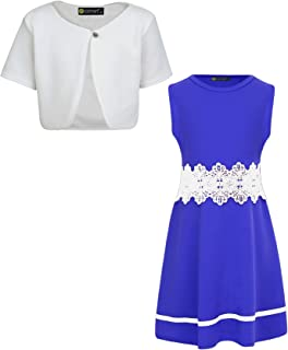 LotMart Girls Bow Skater Dress Bundle with Short Sleeve Cropped Bolero Pack of 2