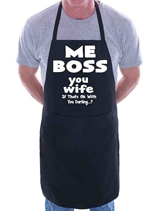 Print4U boss you esposa para barbacoa – Delantal, diseño de