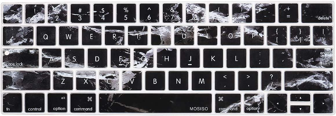 MOSISO Keyboard Cover Compatible with MacBook Pro with Touch Bar 13 and 15 inch 2019 2018 2017 2016 (Model: A2159, A1989, A1990, A1706, A1707),Pattern Silicone Skin Protector, Black Marble