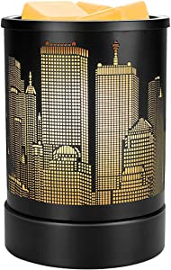 Enaroma Wax Melts Warmer Scented Wax Tart Warmer Black Metal New York Urban Architecture Design Wax Oil Burner for Home Decor