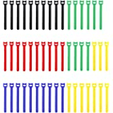 Pasow 50pcs Reusable Fastening Adjustable Cable Ties Straps Wire Management (6 Inch, Multicolour)