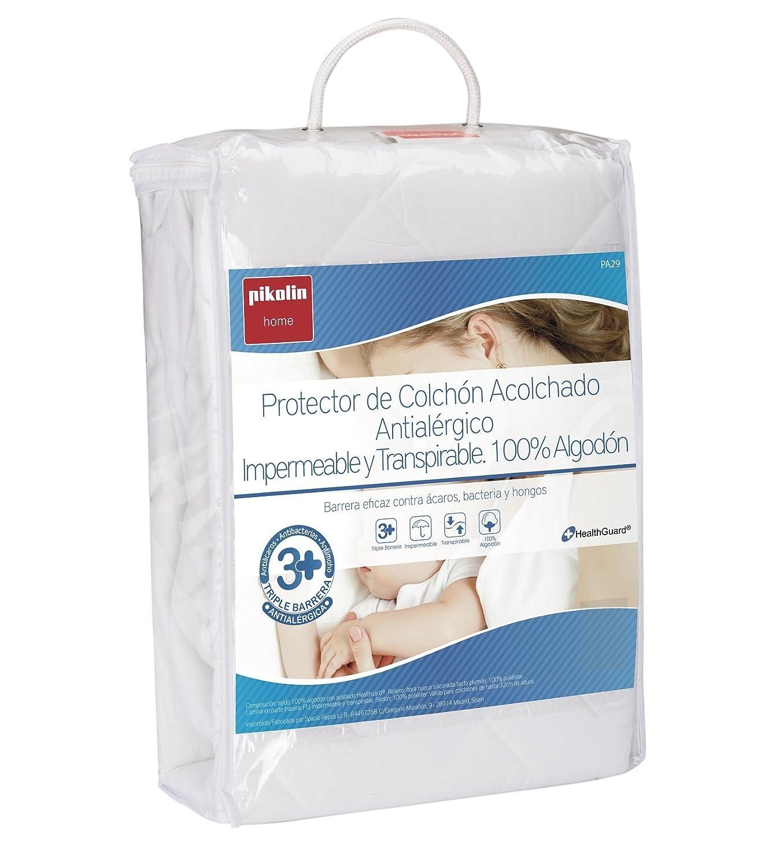 Pikolin Home - Pack de 2 protectores de colchón acolchados cubre colchón, antialérgico, antiácaros, antibacterias y antimoho, impermeable y transpirable, ...