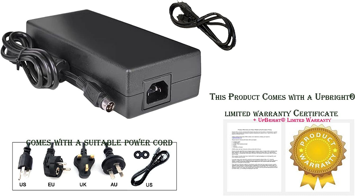 UpBright 4-Pin DIN 12V 15A Original OEM AC//DC Adapter Compatible with FSP Group Inc FSP180-AHAN1 FSP180AHAN1 9NA1802101 9NA1802100 12VDC 15.0A 180W Switching Power Supply Cord Cable Battery Charger