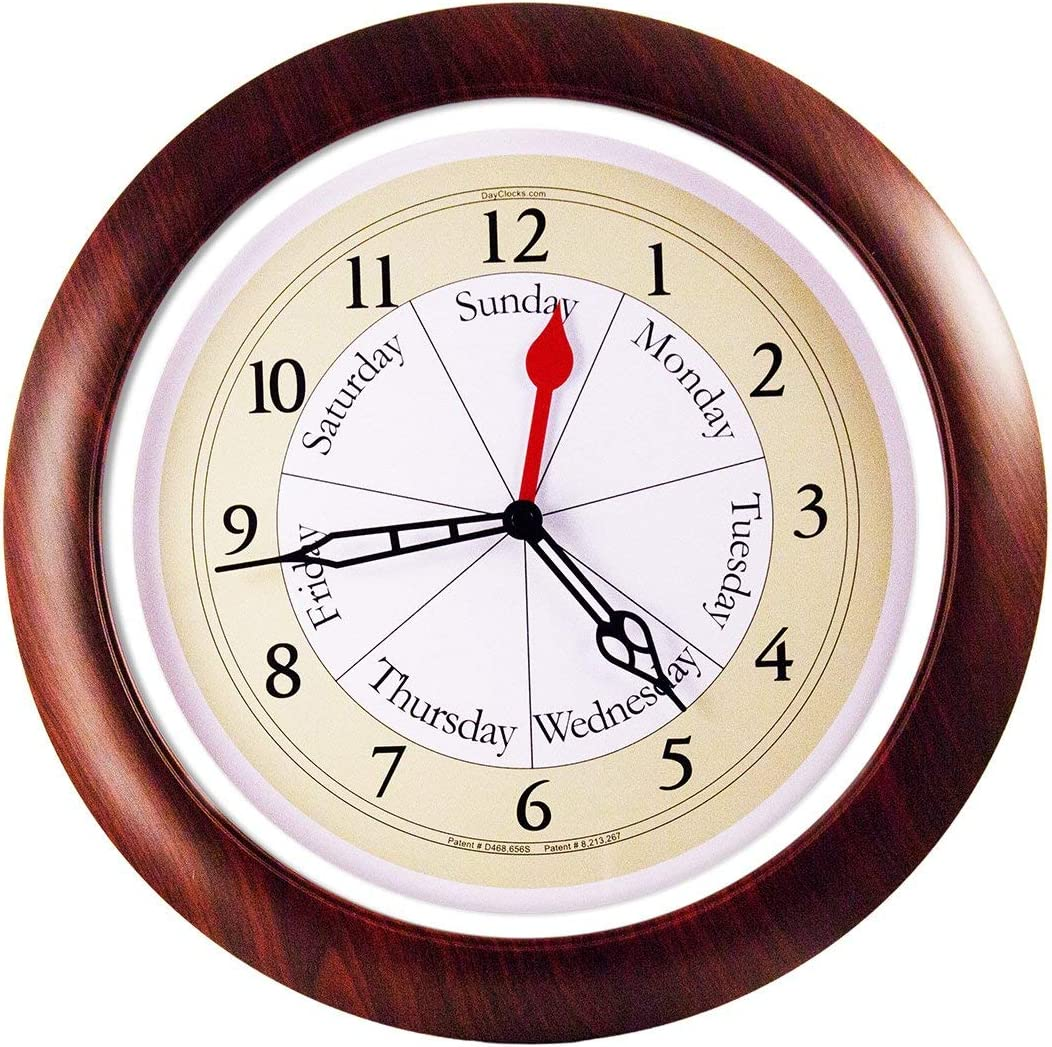 DayClocks Combination Analog Wall Clock Time of Day and Day of the Week Wall Clock Unique Kitchen Wall Clock — Walnut Accent Frame