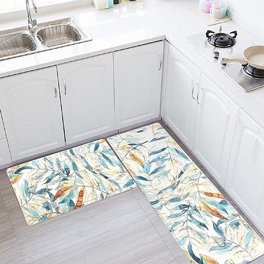 Amazon Com Kitchen Rug Set Leevan Kitchen Floor Mats 2 Piece Pvc Leather Anti Fatigue Comfort Heavy Duty Waterproof Oil Proof Non Skid Rubber Back Washable Doormat Bathroom Area Rug 17 X 29 17 X 59