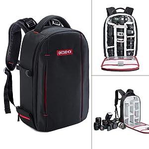 Beschoi DSLR Camera Backpack Waterproof Camera Bag for SLR/DSLR Camera, Lens and Accessories, Black (Large)