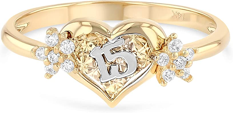 Size Jewel Tie Solid 14k Rose Yellow /& White Gold 15 Years Birthday Flower Ring 6.5