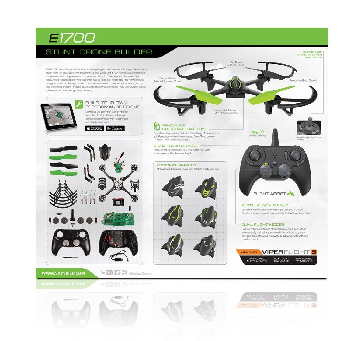 Sky Viper App >> Amazon Com Sky Viper E1700 Stunt Drone Builder Build Your Own
