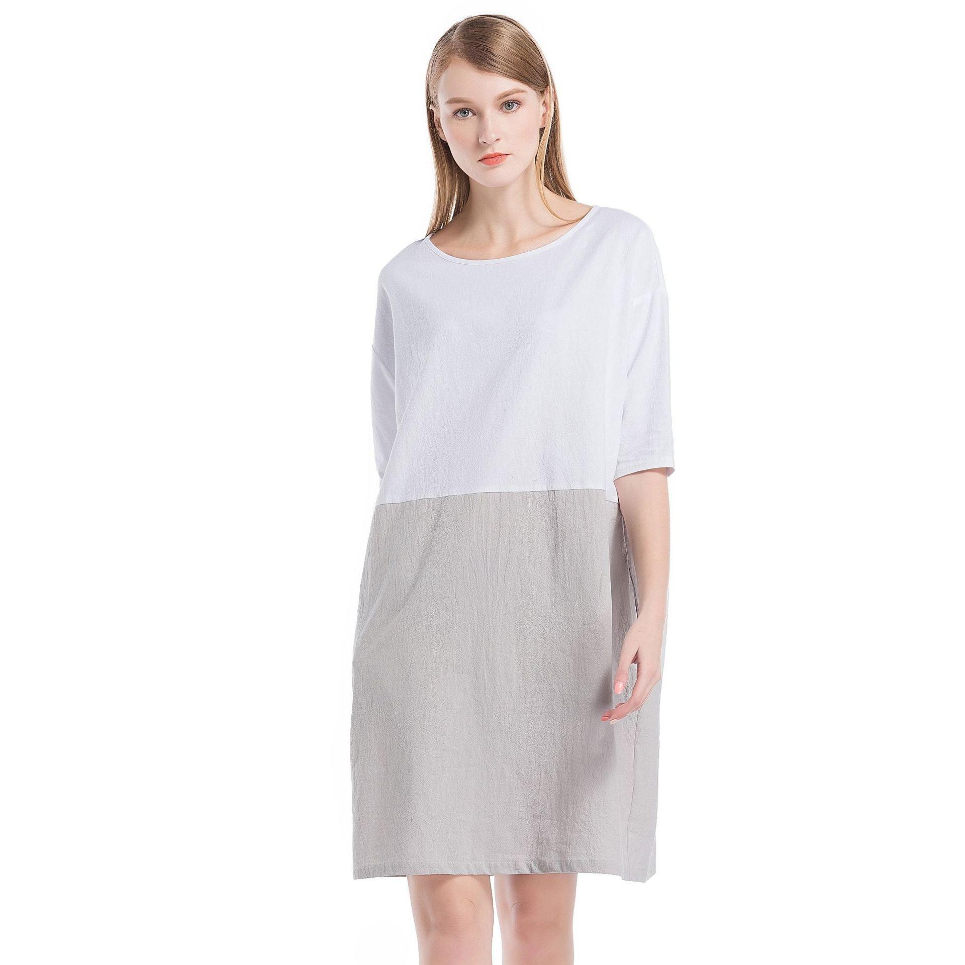 Helisopus Women\'s Cotton Linen Summer Dress Soft Loose Patchwork Plus Size  Three-Quarter Sleeves Dresses | Jodyshop