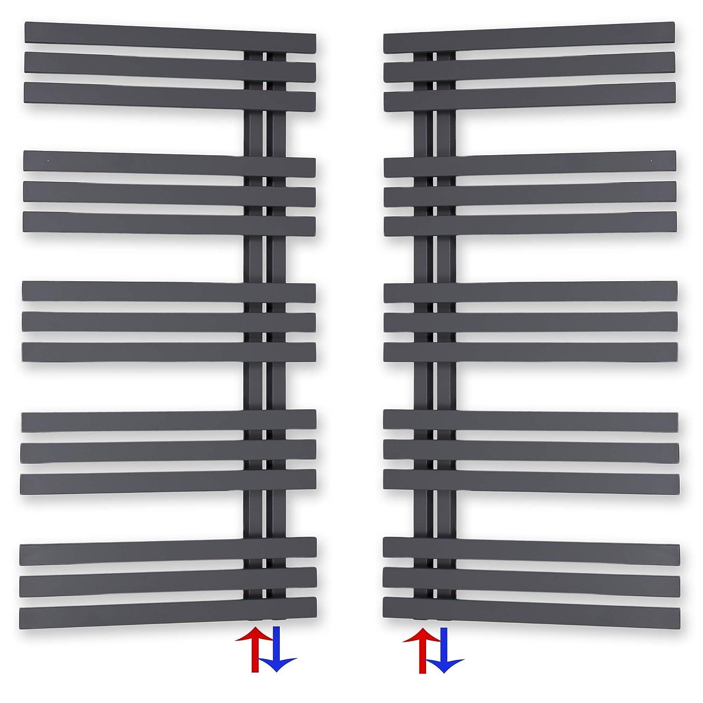 1000 x 600, Chrom Design Badheizk/örper Paneel mit Anschluss links oder rechts 309 Watt nach EN442 Heizk/örper mit versetztem Mittelanschluss