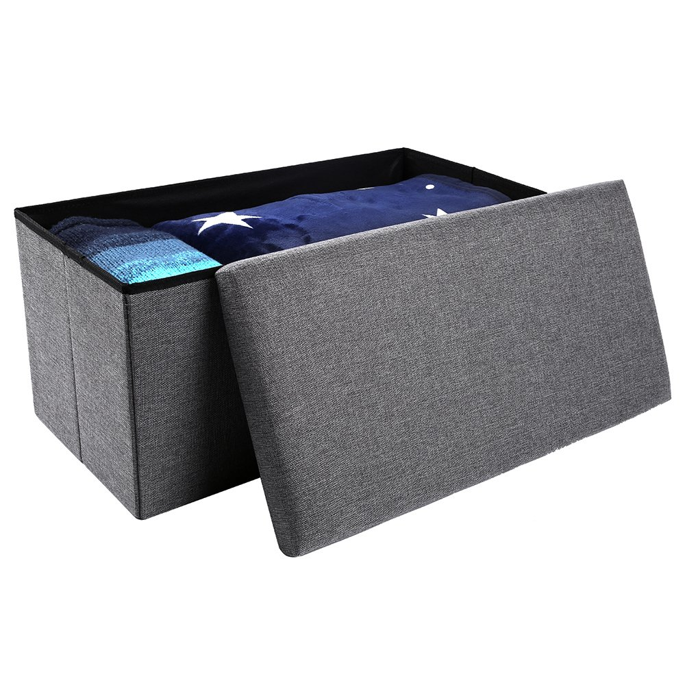 epeanhome Storage Ottoman,Folding Storage Bench, Linen-like Fabric and Foldable Stool Thickening Sponge for Livingroom 29 7/8''