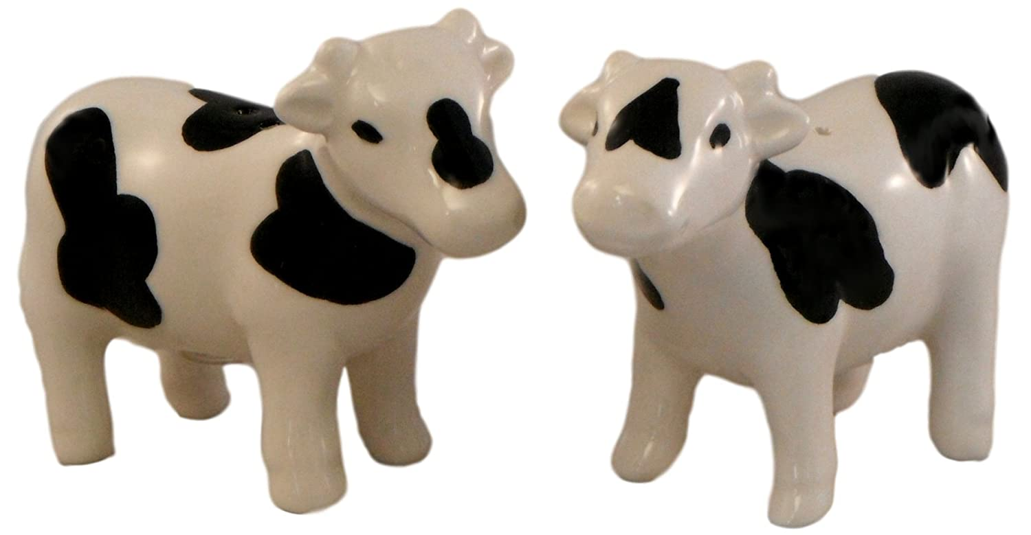 Ceramic Salt and Pepper Shakers - Black and White Cows Oriental Treasures