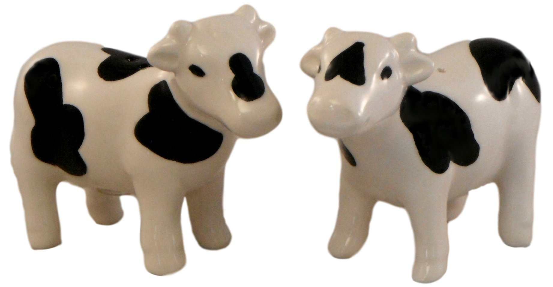 Ceramic Salt and Pepper Shakers - Black and White Cows