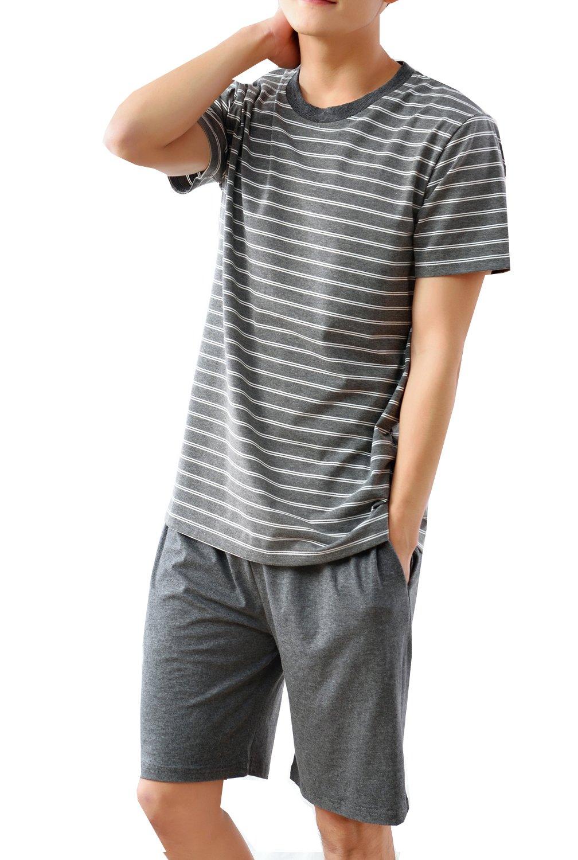 Big Boys Fashion Strips Loose Cotton Pajama Set Shorts and Top (10y-18y)