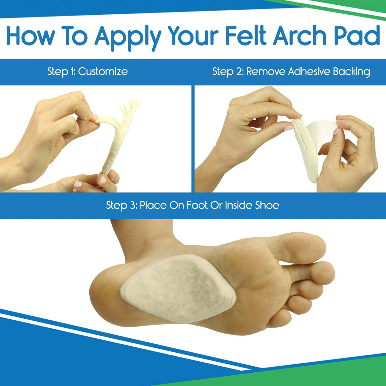Arch Support Pads by 6 Pairs Adhesive Felt Foot Insert