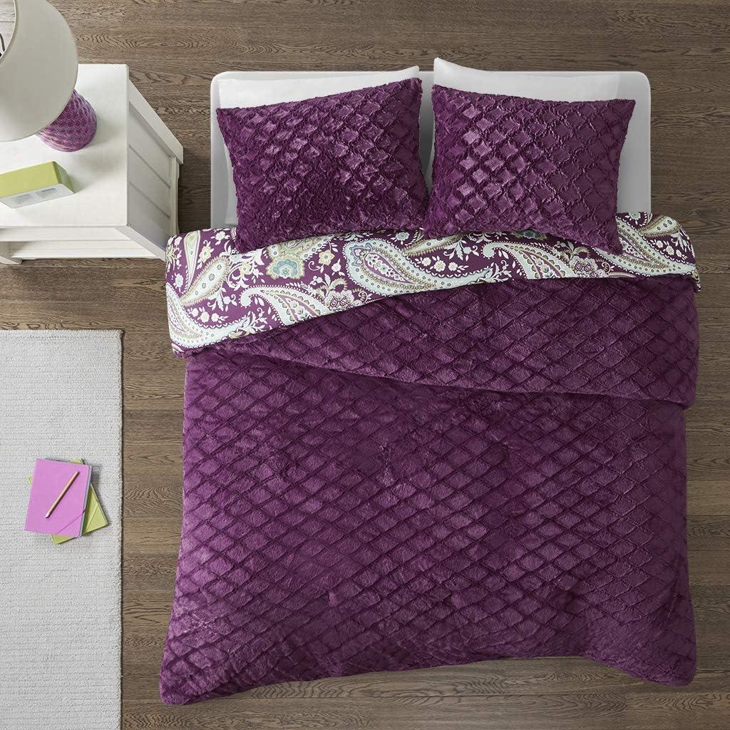 Intelligent Design Melissa Ultra Soft Paisley Print Quilted Faux Fur Reversible Comforter Set