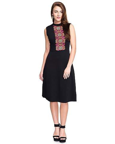 ADDYVERO Women Cotton A Line Embroided Dress Dresses