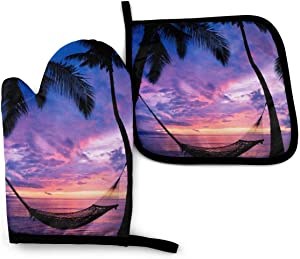 BJHAP Oven Mitt and Potholder Sunset Tropical Palm Trees Gloves Pot Holder for Cooking Baking Grilling