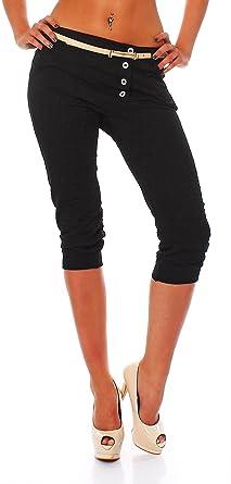 Fashion Trendige Damen Capri Boyfriend Jeans Baggy Chino Hose mit Gürtel in  Schwarz, Größe M 382d165ad3