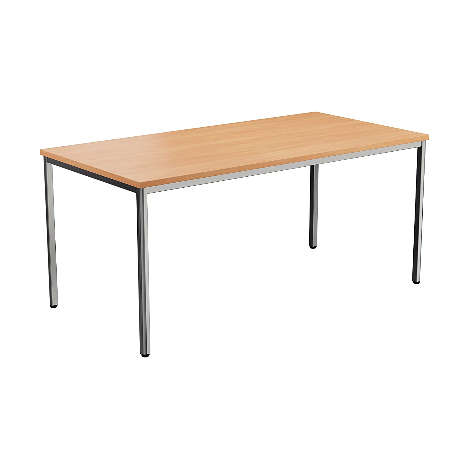 Office Hippo Multi-Purpose Rectangular Meeting Table, Polished Chrome Frame, Oak Top, 160 cm TC Group OHD0102OK