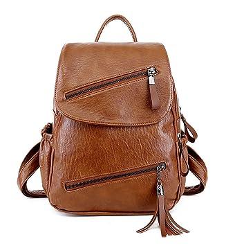 DEERWORD Mujer Bolsos mochila Bolsas escolares Bolsos bandolera Shoppers y bolsos de hombro Cuero de PU Barna: Amazon.es: Equipaje
