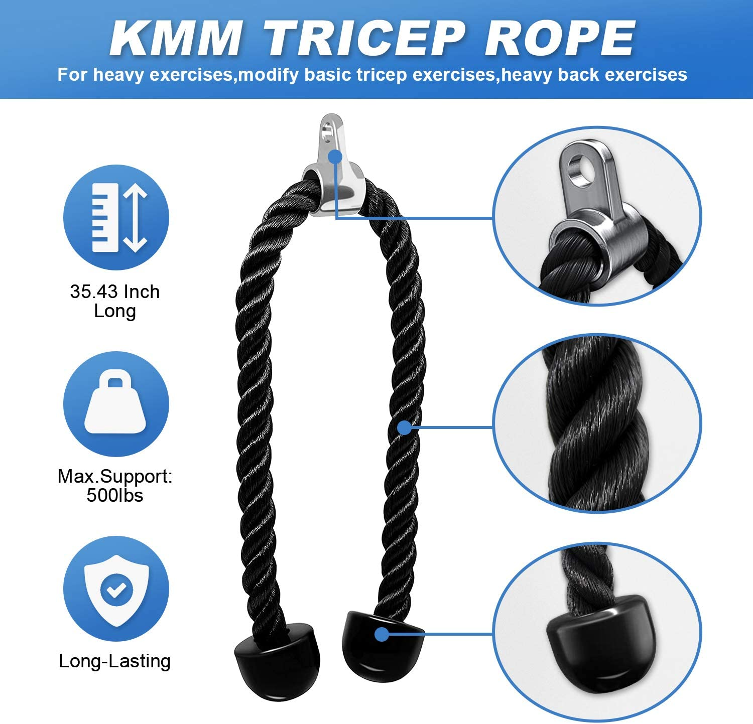 Details about  /1 Pair Tricep Rope Cable Attachment Handle Bar Resistance Gym Training Bands Kit