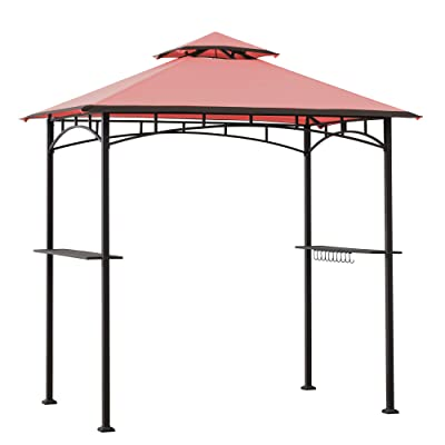 Sunjoy A103000105 Harvey 5x8 ft. Steel 2-Tier Grill Gazebo, Red : Garden & Outdoor