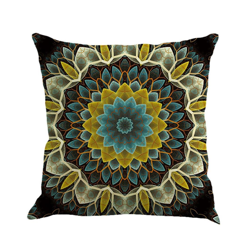 Naladoo Retro Fashion Bohemia Mandala Painting Pillowcase Cushion Sofa Bed European Home Decoration Festival Pillow Case Flax Cushion Cover Square 18 X18  (Multicolor B) IU32566436436