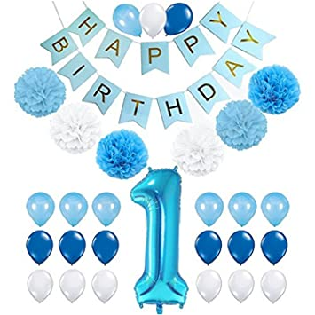 1st Birthday Decorations For Boys Baby Boy Decoration Pack Includes Blue Happy Banner 38 Inch Number One Balloon 6