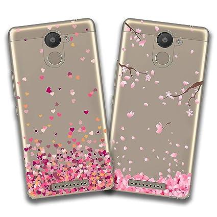 jrester 2 X Funda BQ Aquaris U Plus,Amor + Flor Rosa Flexible Suave Transparente TPU Gel Silicona Anti-Arañazos Smartphone Cascara Protectora para BQ ...