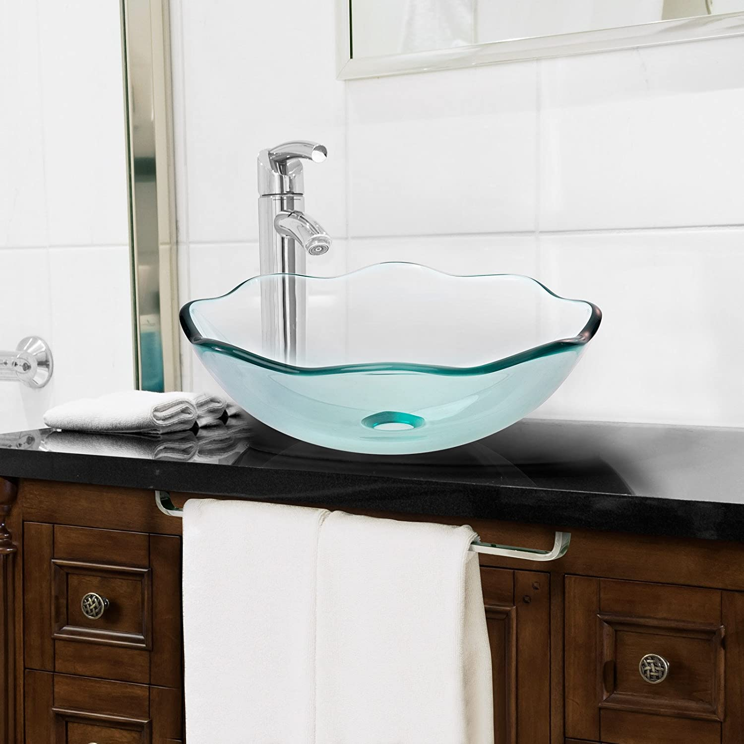 Awesome Miligoré Modern Glass Vessel Sink   Above Counter Bathroom Vanity Basin Bowl    Scalloped Clear     Amazon.com