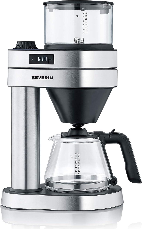Severin KA 5760 Caprice - Cafetera de filtro (1 L, acero inoxidable cepillado), color negro mate: Amazon.es: Hogar